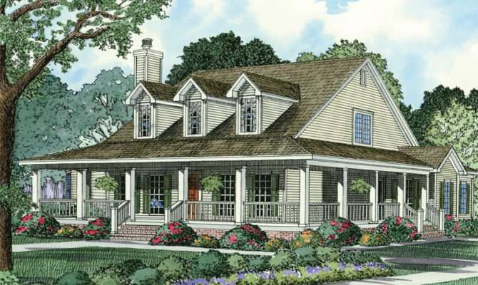 Southern Country Style Home Charming Wrap Around Porch