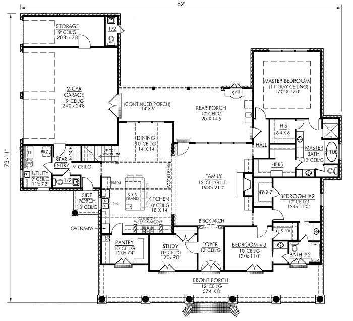 Southern Style House Plans Square Foot Home