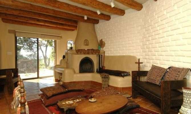 Southwest Style Pueblo Desert Adobe Home Fireplace Pinterest