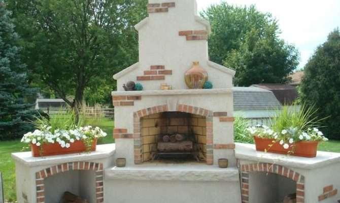 Southwestern Design Outdoor Woodburning Fireplace Home