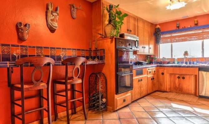 Southwestern Kitchen Mexican Tile Backsplash Inset Cabinets