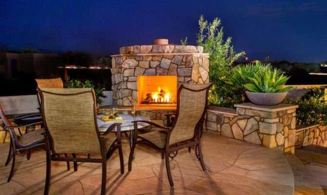 Southwestern Patio Stone Fireplace Creates