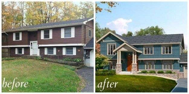 Split Level Curb Appeal Exterior Home Makeover