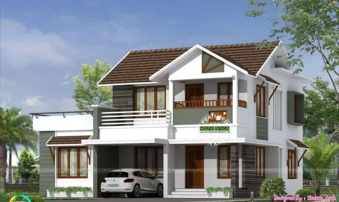 Square Feet Bedroom Simple Sloping Roof Home