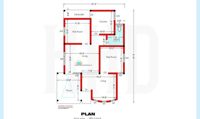 Square Feet Home Plan Elevation House Plans