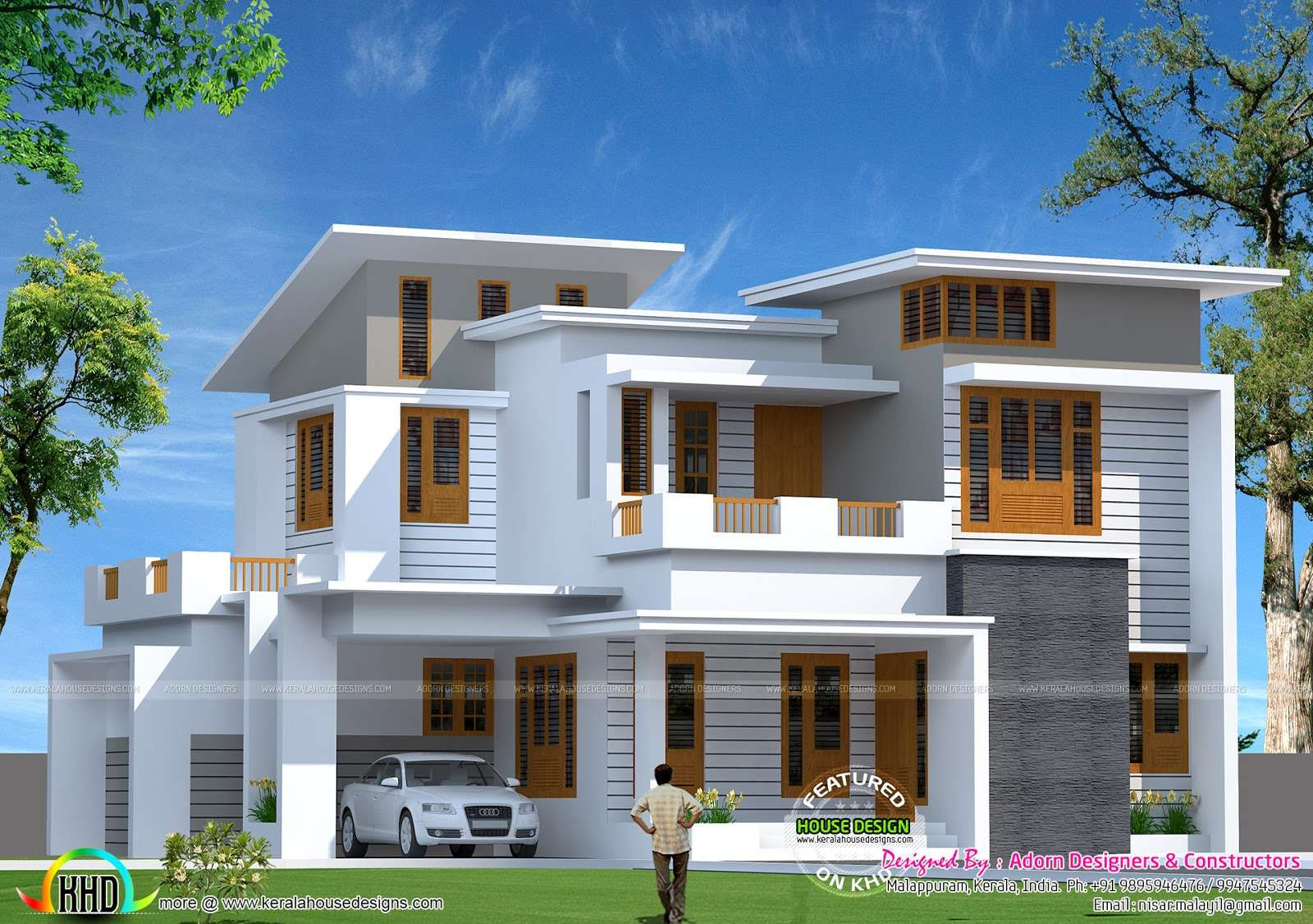 Square Feet Slanting Roof Mix Home Kerala