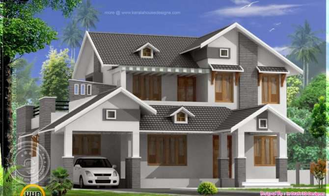 Square Feet Sloping Roof Home Kerala Design