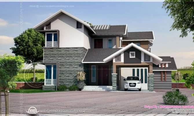 Square Feet Sloping Roof House Elevation Kerala Home Design