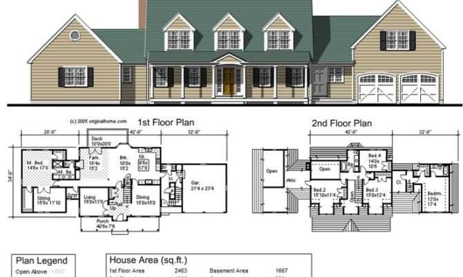 Square Foot Cape Cod Ranch Home Ground Floor Master