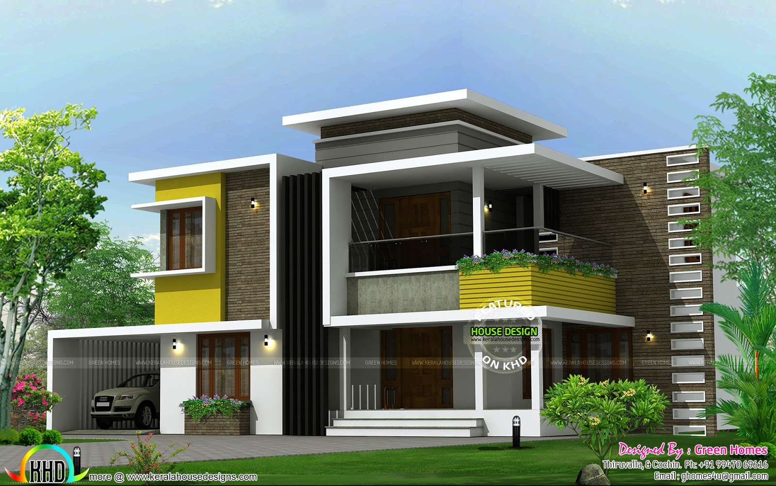 Square Yards Box Type Contemporary Home Kerala