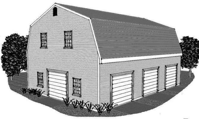 Stall Gambrel Garage Building Plans Open Walk Loft Bonus