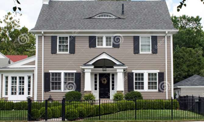 Stately Two Story House Front Blue