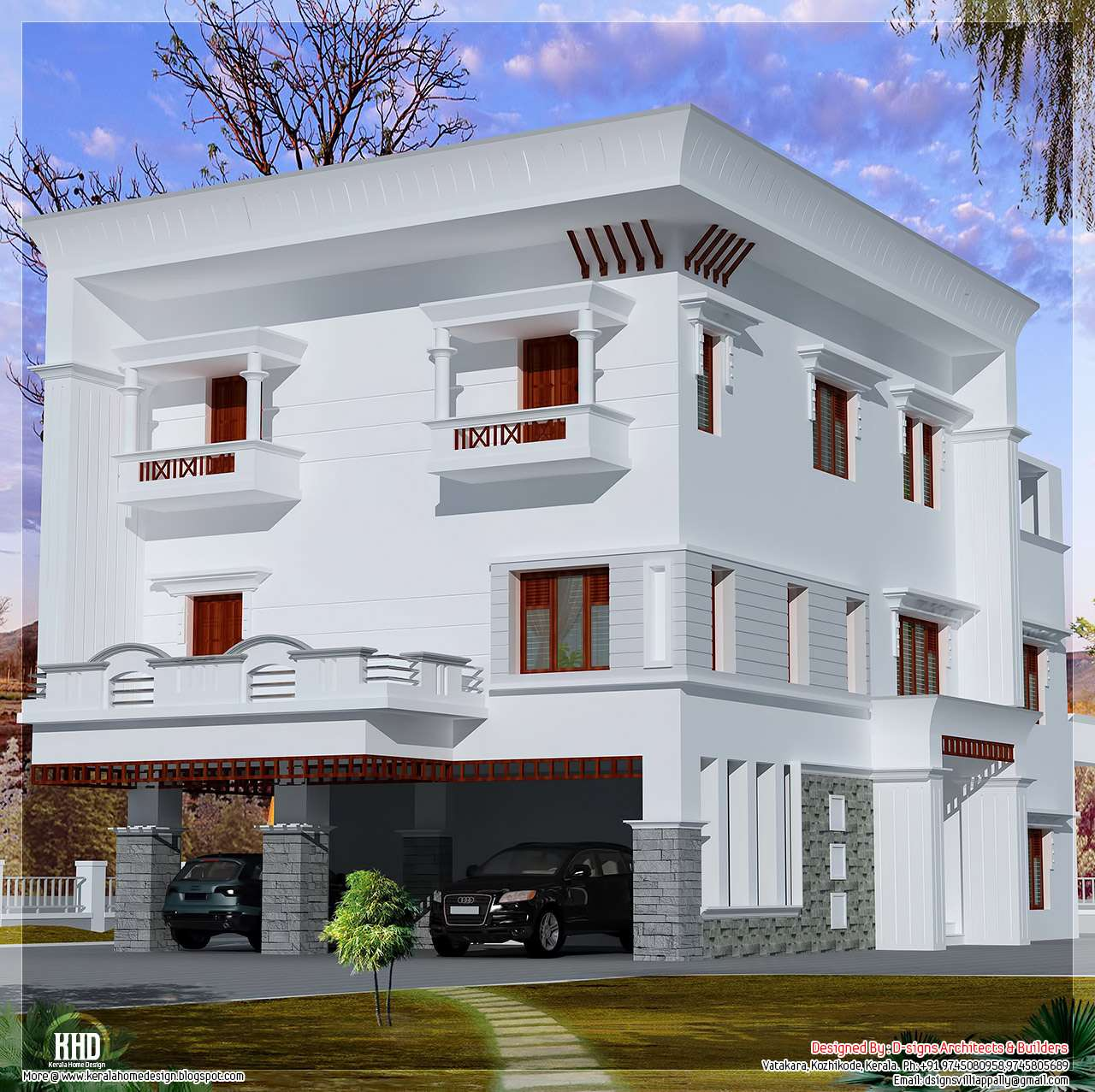 Storey Flat Roof Home Design Kerala