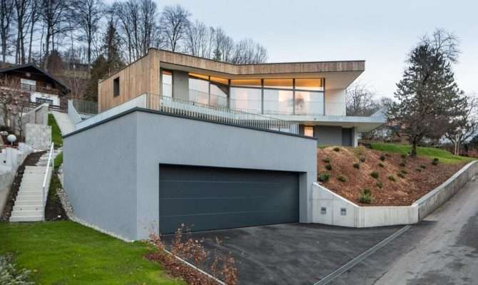 Storey Home Steep Slope Grass Roofed Garage