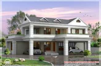 Storey Sloping Roof Home Plan Kerala House Design Idea