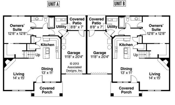 Story Duplex House Plans Craftsman Donovan