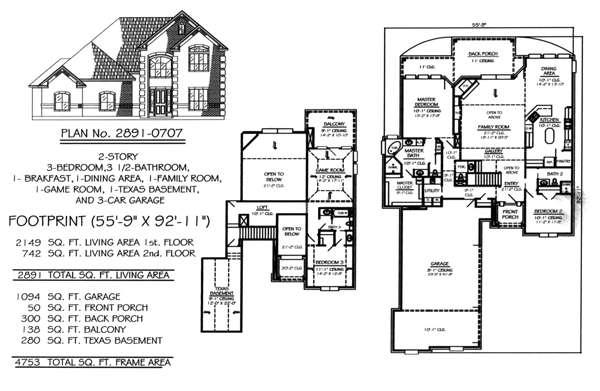 Story House Plans Car Garage Home Deco