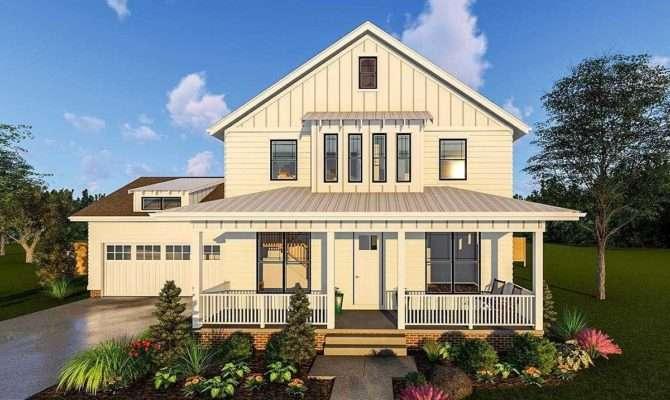 Story Modern Farmhouse Plan Front Porch Rear