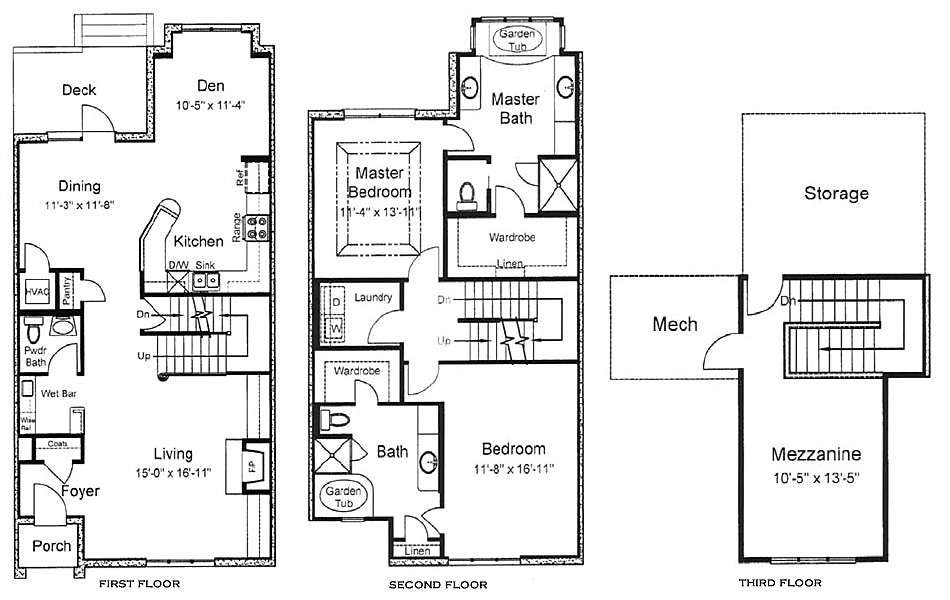 Story Townhouse Floor Plans Plan