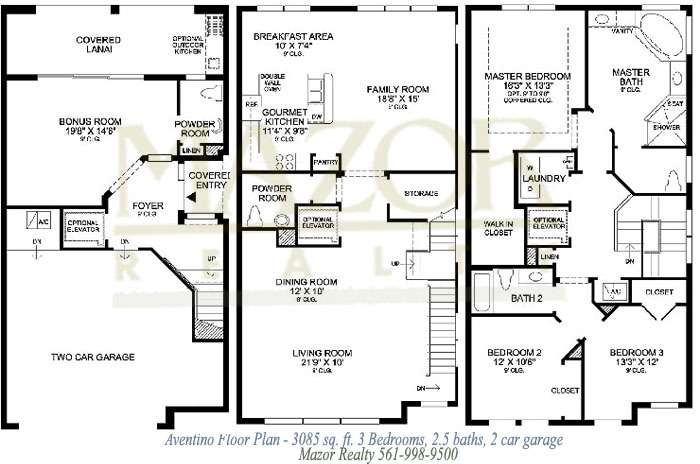 Story Townhouse Floor Plans Three Distinctive