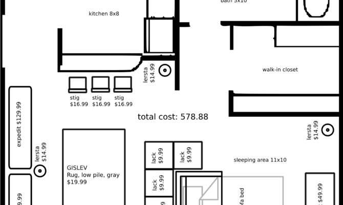 Studio Apartment Layout Ikea Furniture