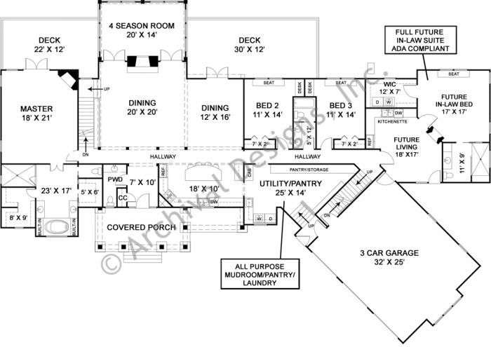 style house plan story ranch plans mudroom architecture