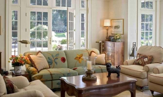 Stylish French Country Cottage Living Room Design
