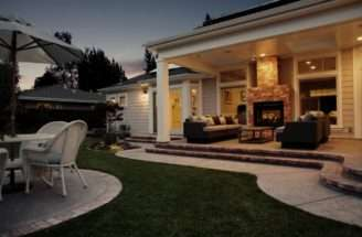 Sunnyvale Covered Rear Porch Two Sided Fireplace Yelp