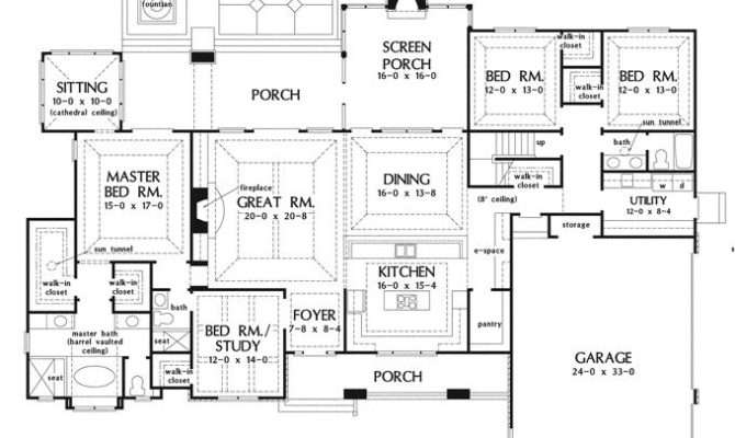 Superb Large Kitchen House Plans One Story