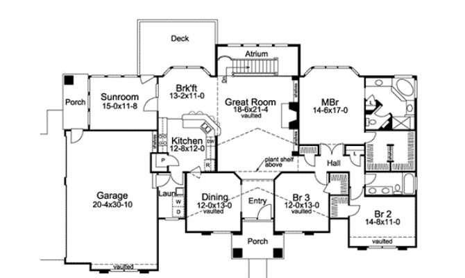Tampa Bay Atrium Ranch Home Plan House Plans