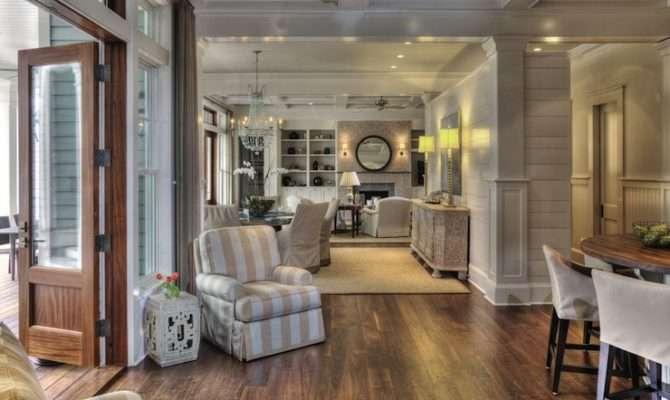 Tan White Striped Club Chair Open Floor Plan Design