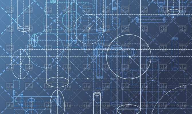 Technical Blueprint Drawing Abstract Geometry