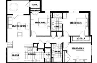 Three Bedroom Floorplan Square Feet