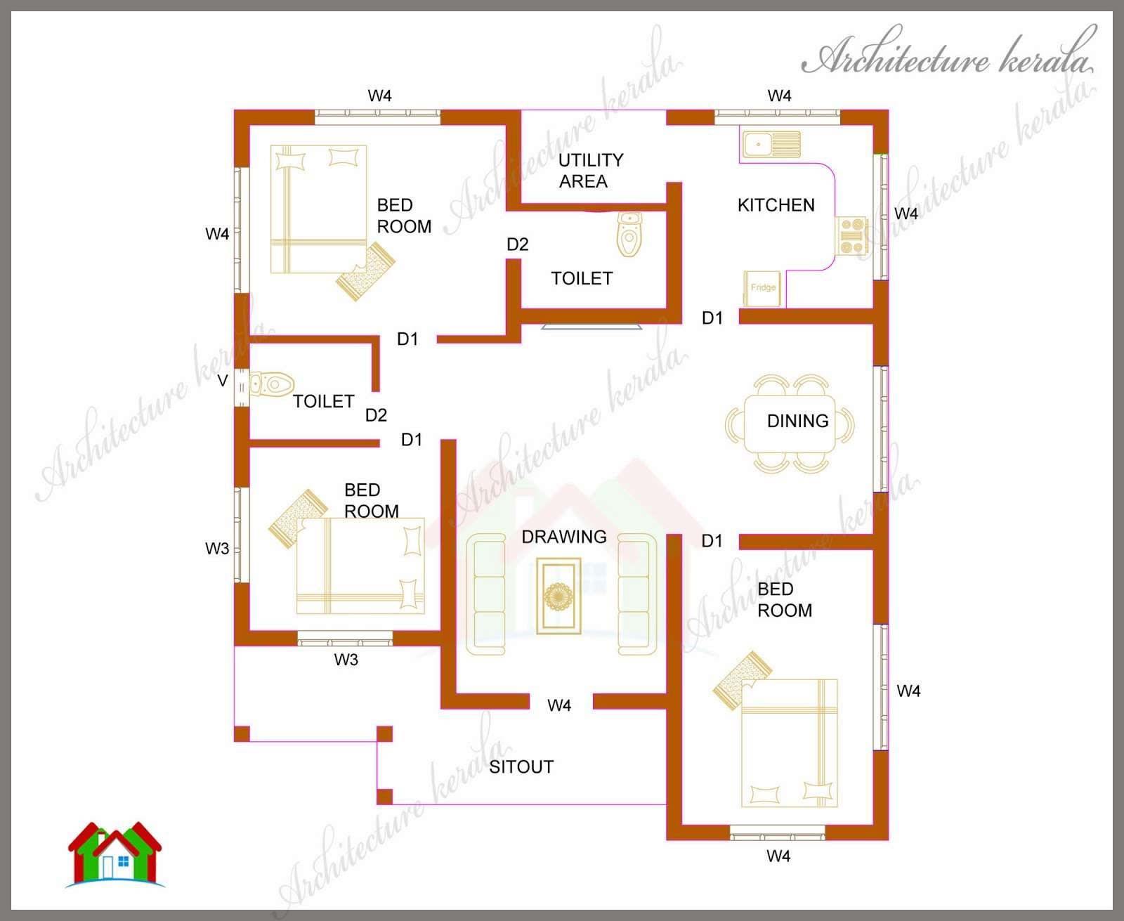 Three Bedrooms Square Feet Kerala House Plan Architecture
