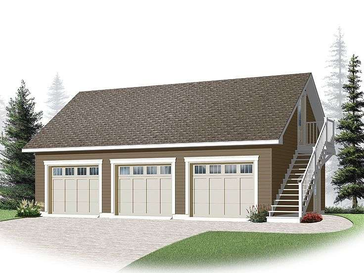 Three Car Garage Plans Loft Plan Cape Cod Styling