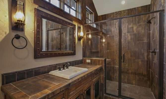 Tile Shower Has Brushed Nickel Fixtures Stripe Vertical Tiles