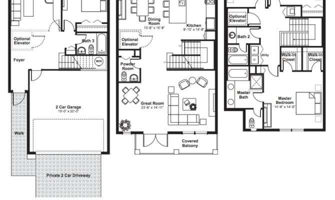 Townhouse Floor Plans Story Car