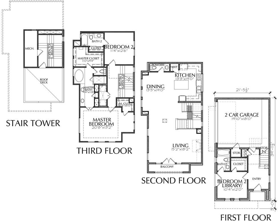 Townhouse Garage Floor Plans Story Townhome Plan