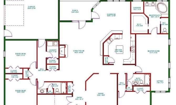 Traditional Ranch House Plan Single Level One Story