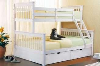 Triple Bunk Beds Sonya White Wooden Three Sleeper Storage Drawers