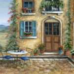 Tuscan Courtyard Cat Painting Marilyn Dunlap