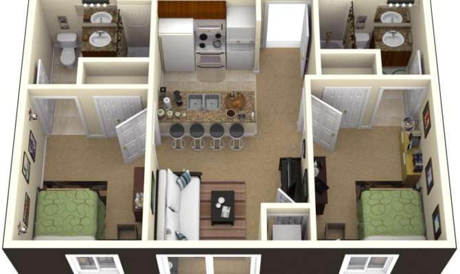 Two Bedroom Apartment Plans Selection Designs