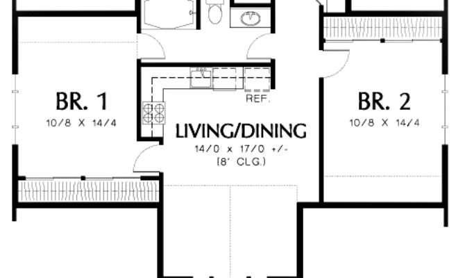 Two Bedroom Guest Suite Over Car Plan