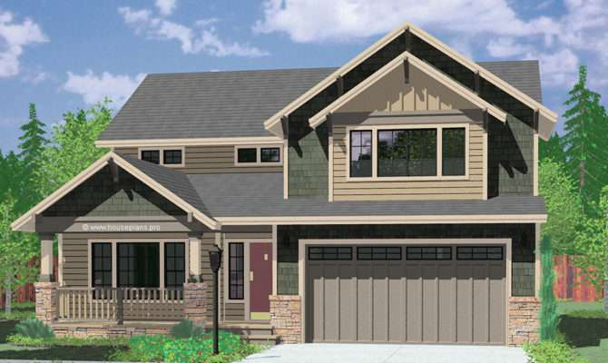 Two Story Craftsman Plan Bedrooms Wide