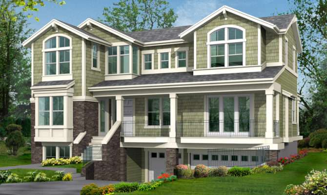 Two Story House Plans Garage Underneath