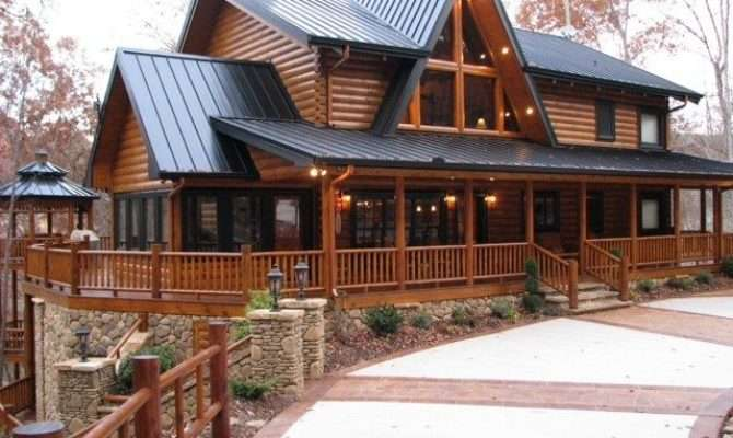 Two Story Log Cabin House Plans Cool Rustic