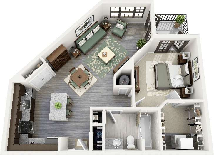 Unique Angles Give One Bedroom Apartment Kind