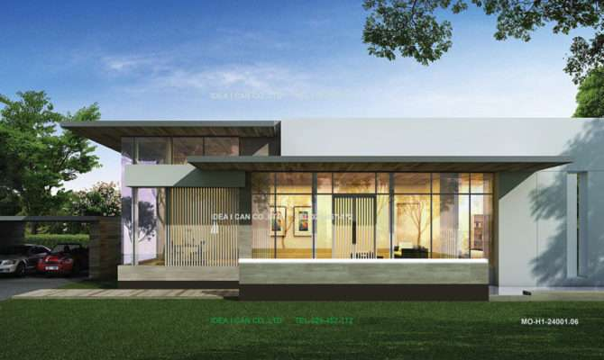 User Community Single Storey House Modern Style Perspective