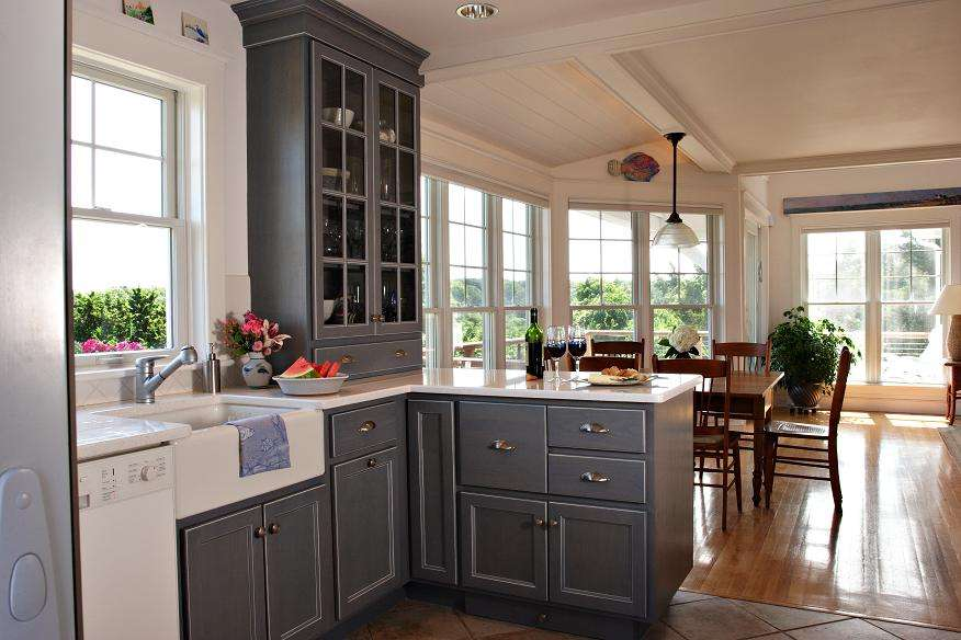 Using Gray Cabinets Wooden Floor Plans Large Window Kitchen