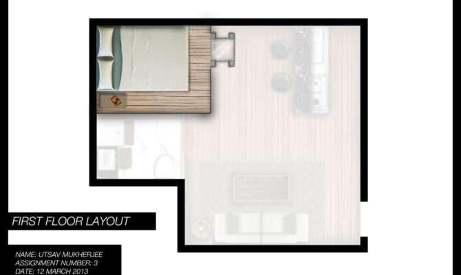 Utsav Mukherjee Designs Studio Apartment Floor Plan Render